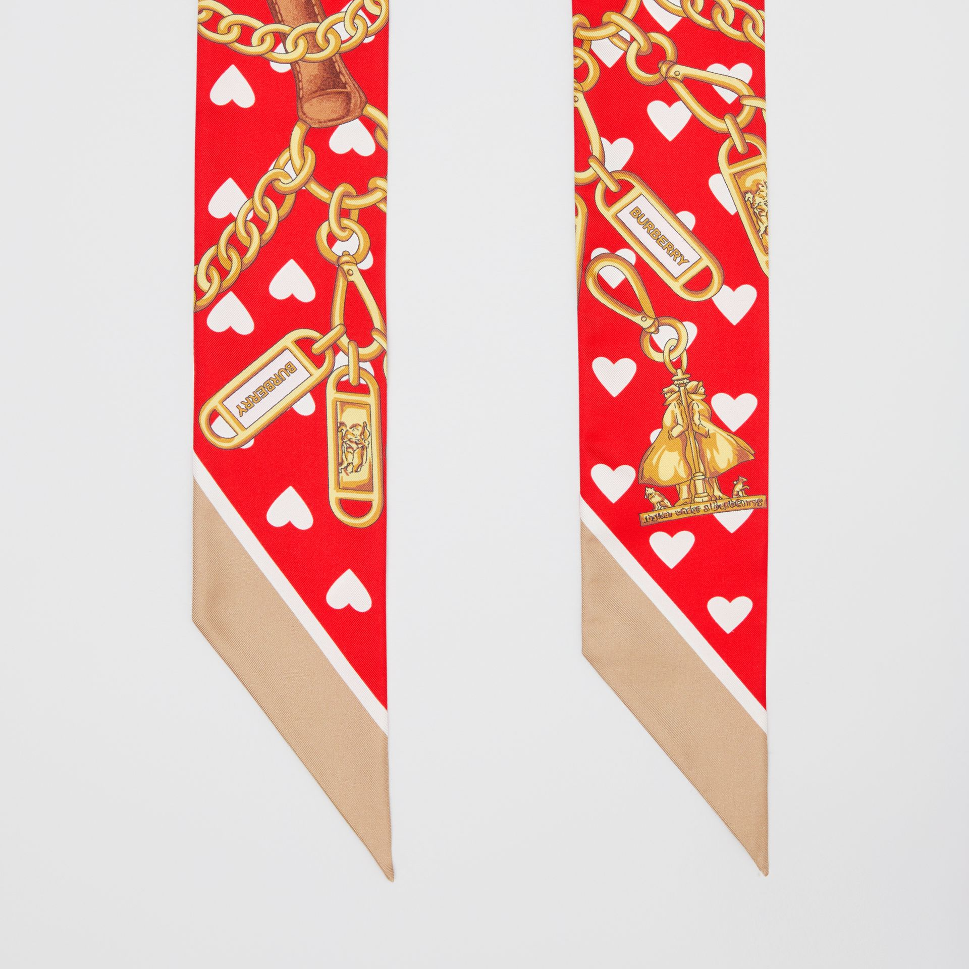 Archive Scarf Print Silk Skinny Scarf in Bright Red | Burberry Hong Kong S.A.R - gallery image 2