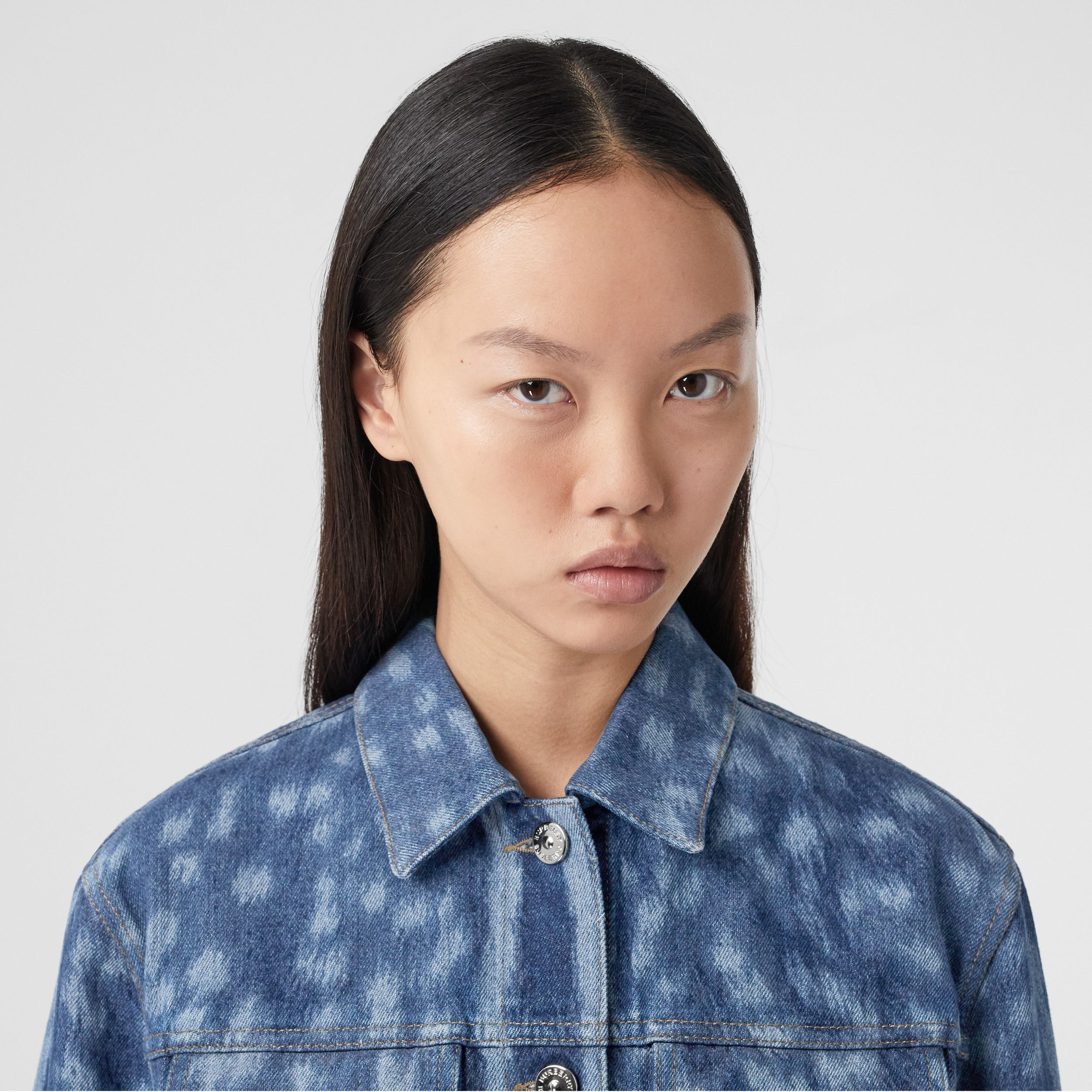 Deer Print Denim Jacket in Mid Indigo - Women | Burberry - 2