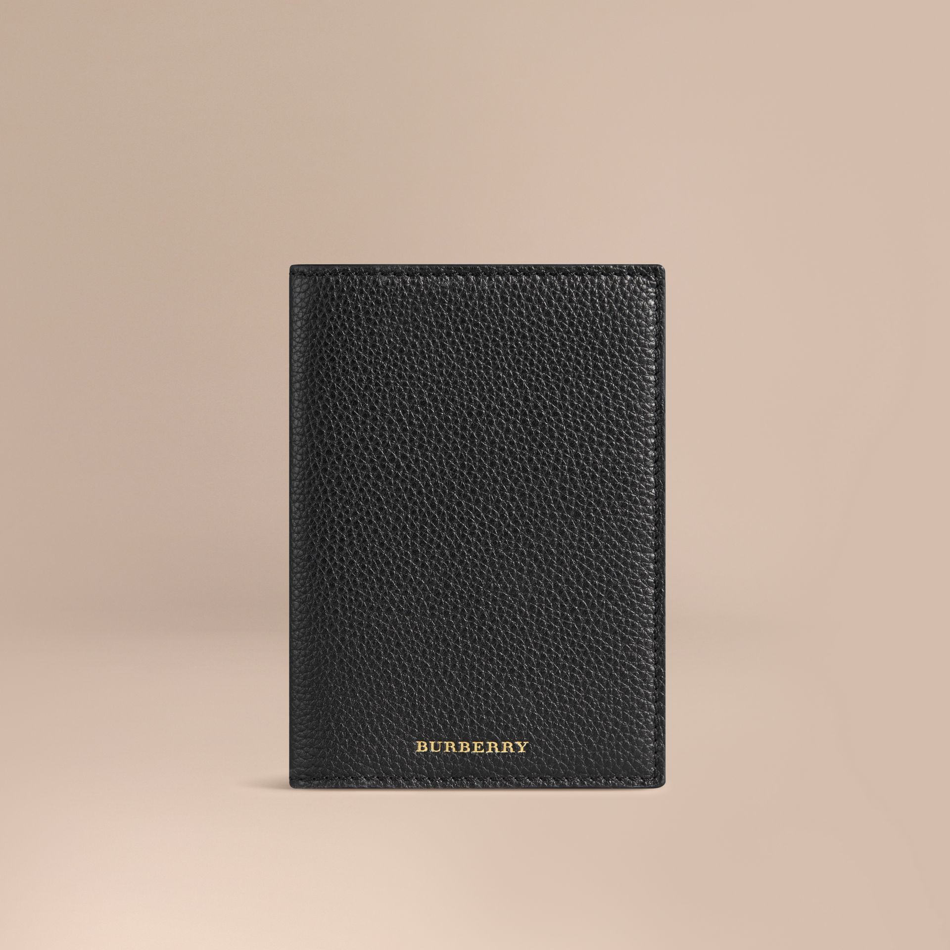 Grainy Leather Passport Cover in Black | Burberry - gallery image 1