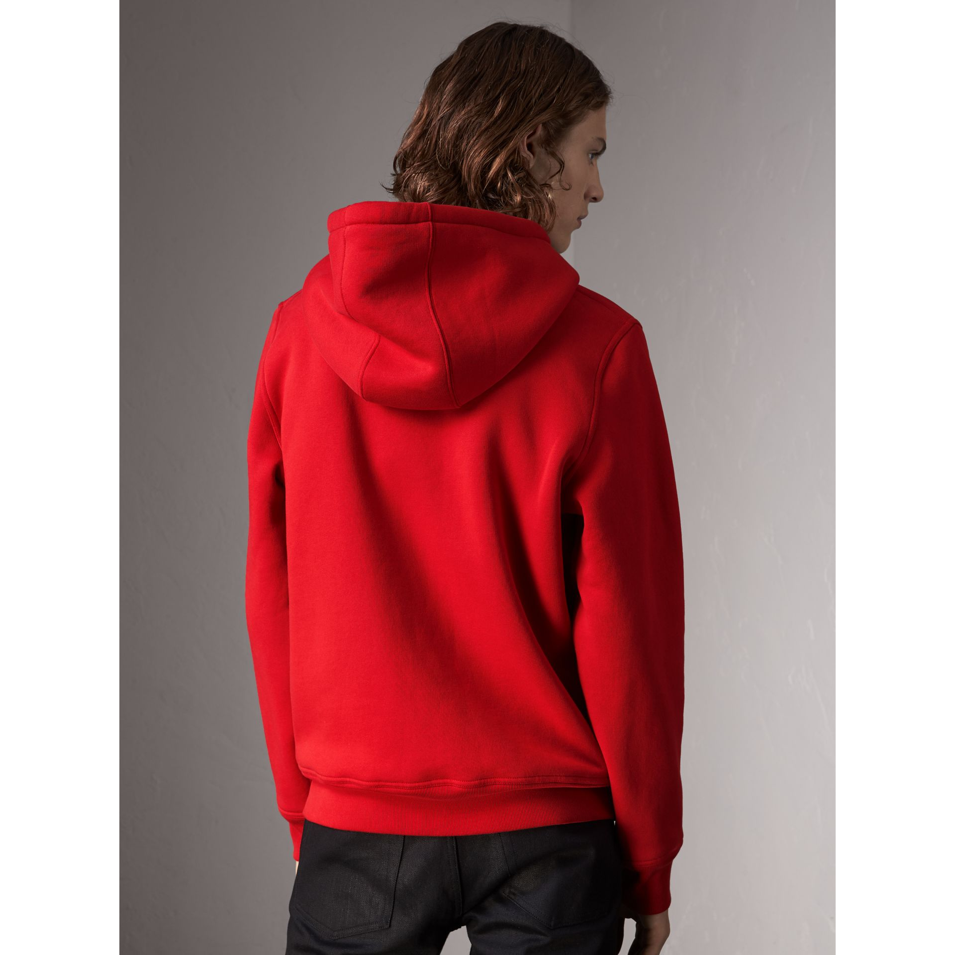 Check Detail Jersey Hooded Top in Military Red - Men | Burberry - gallery image 3