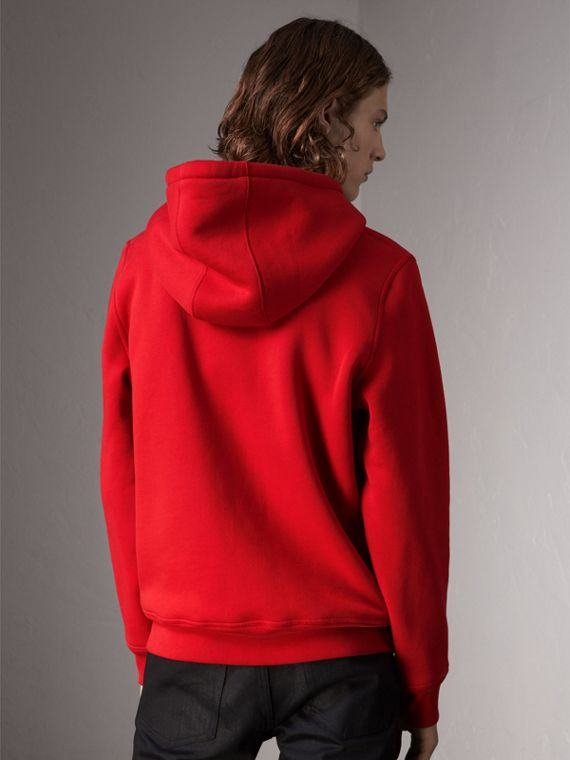 Check Detail Jersey Hooded Top in Military Red - Men | Burberry - cell image 2