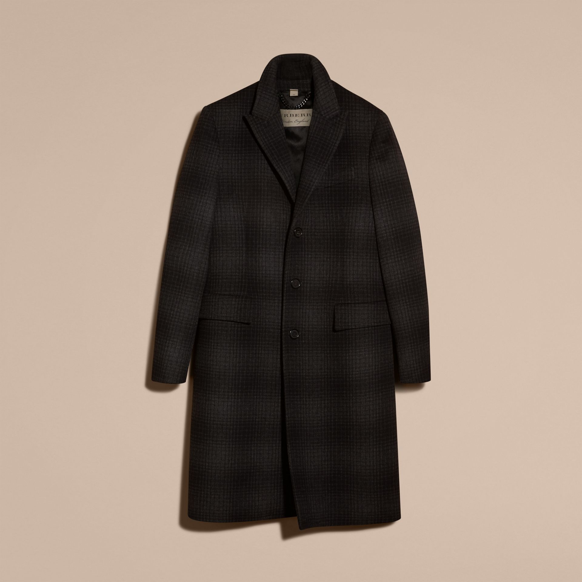 Charcoal melange Tailored Check Wool Cashmere Coat - gallery image 4