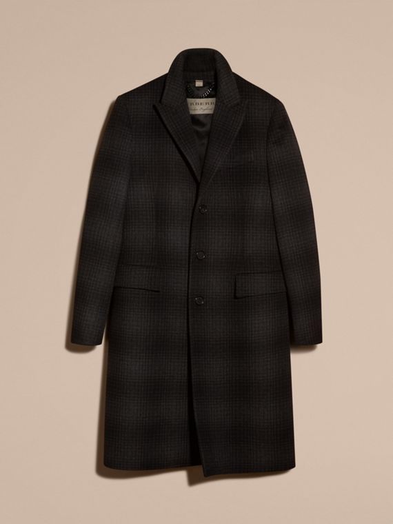 Charcoal melange Tailored Check Wool Cashmere Coat - cell image 3
