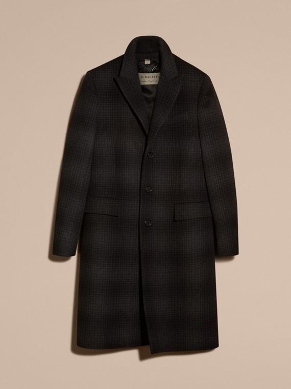 Camaïeu anthracite Manteau ajusté en laine et cachemire à motif check - cell image 3