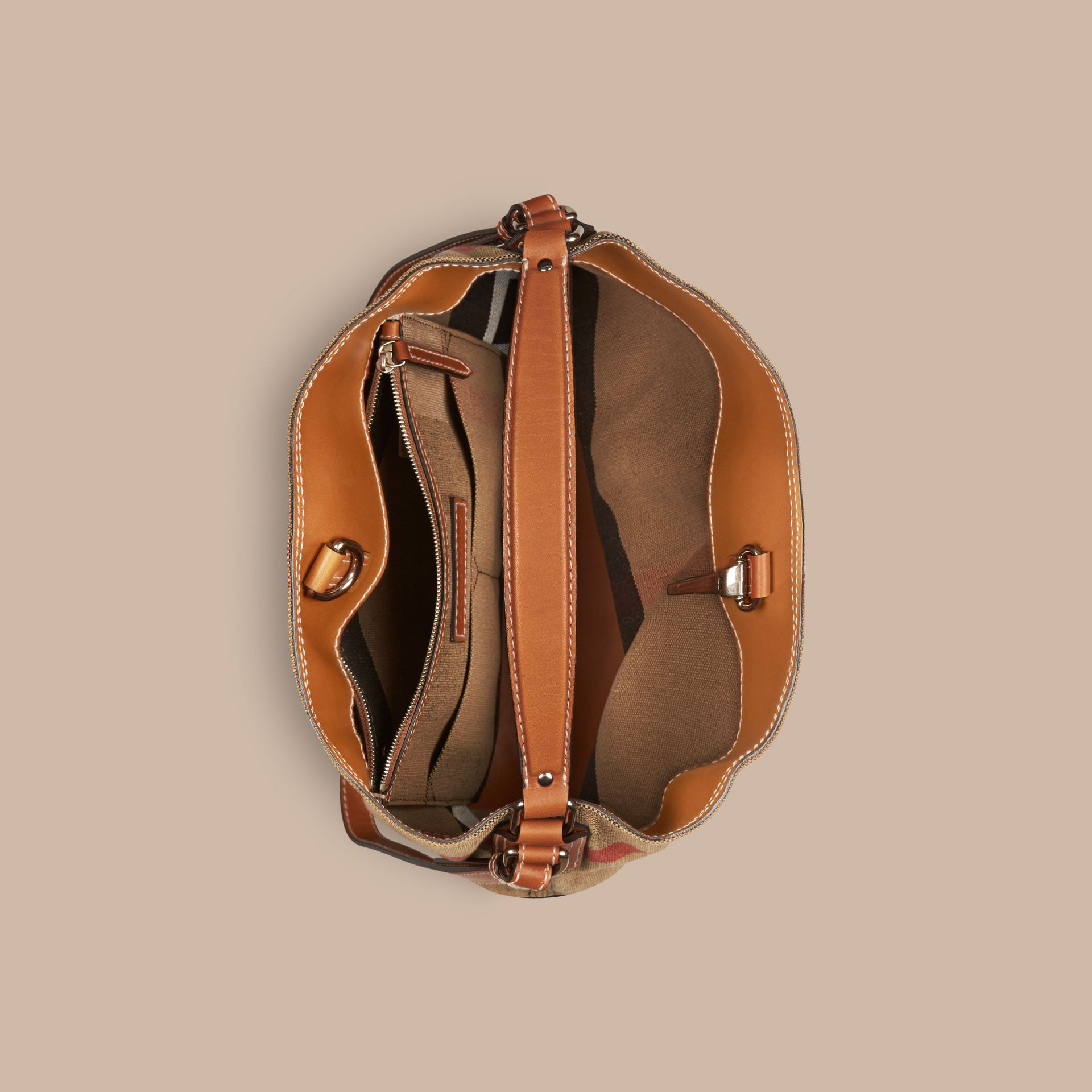 The Medium Ashby in Canvas Check and Leather in Saddle Brown - gallery image 6