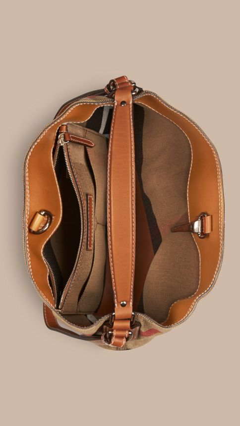 Saddle brown The Medium Ashby in Canvas Check and Leather Saddle Brown - Image 6