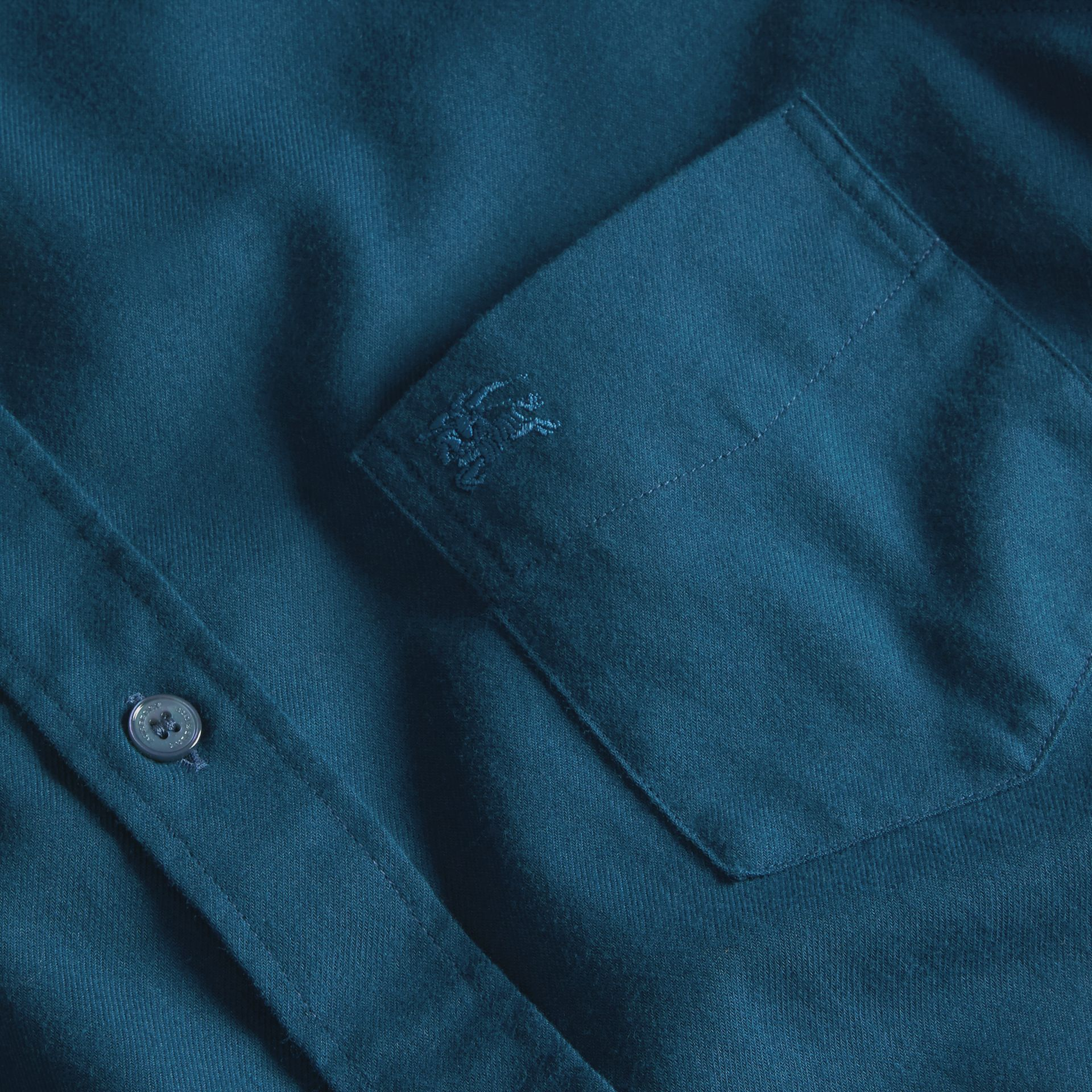 Check Detail Cotton Flannel Shirt in Mineral Blue - gallery image 2