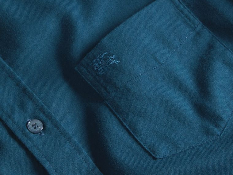 Check Detail Cotton Flannel Shirt in Mineral Blue - cell image 1