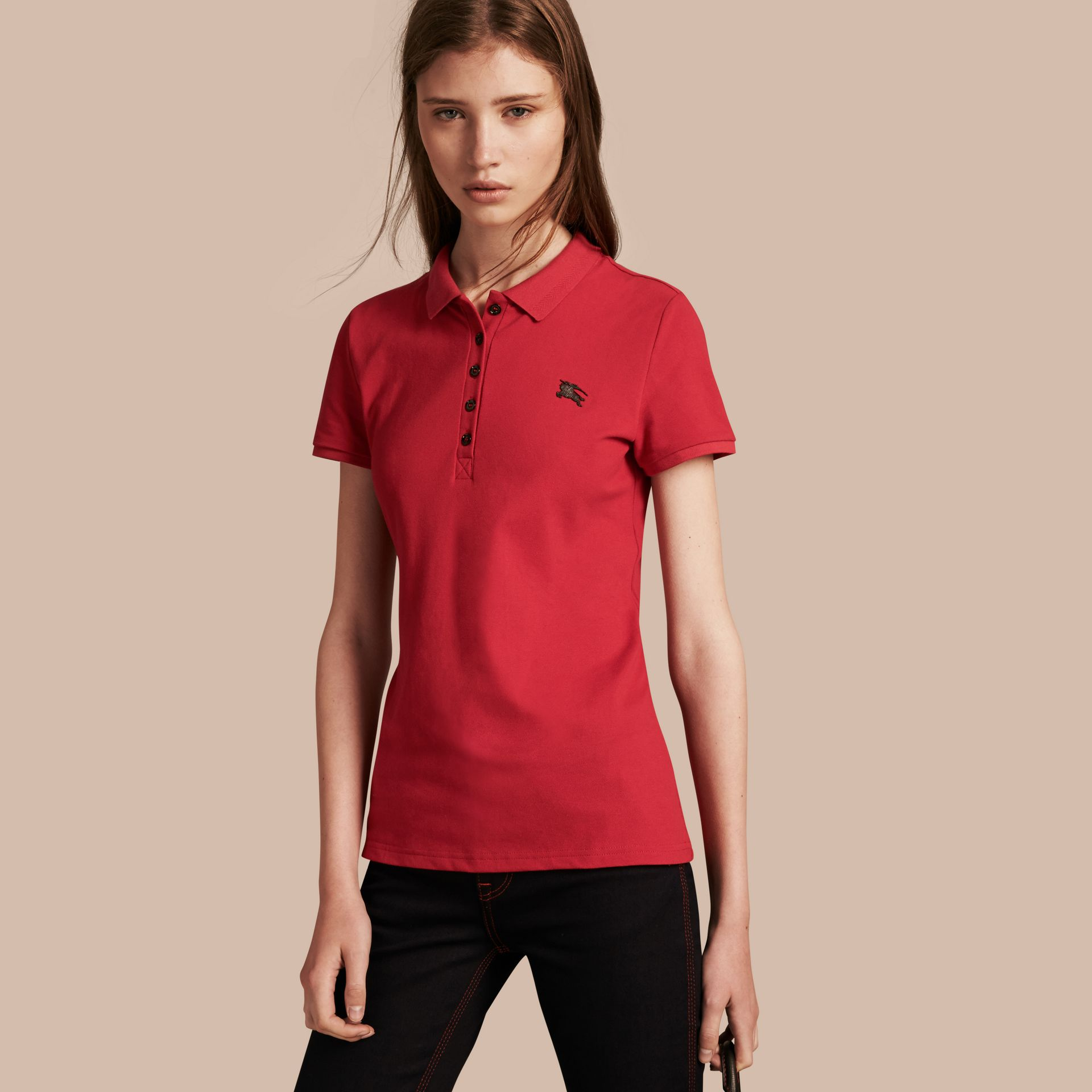 Cotton Piqué Polo Shirt Military Red - gallery image 1