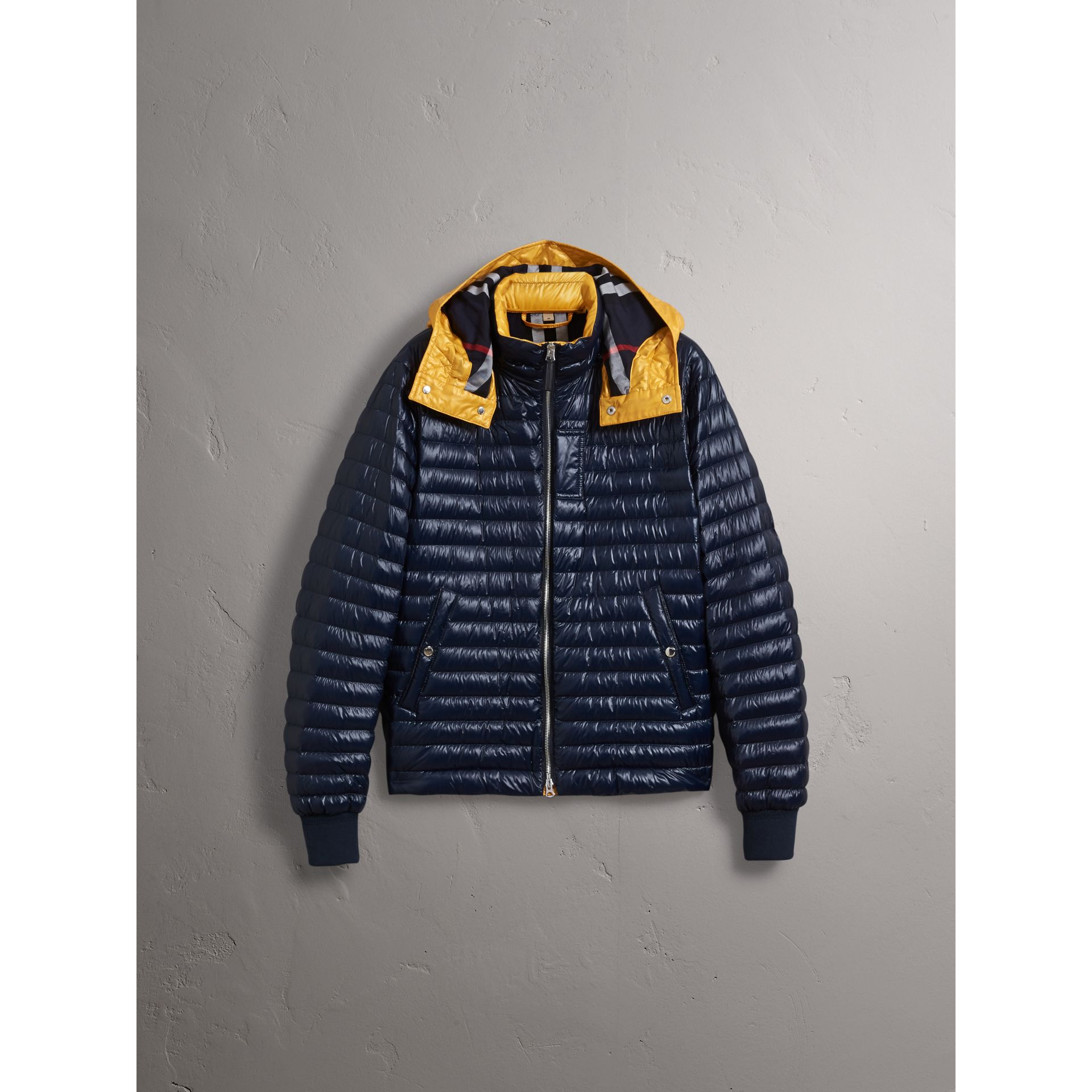 Packaway Hood Down-filled Puffer Jacket in Navy - Men | Burberry Hong Kong - gallery image 3