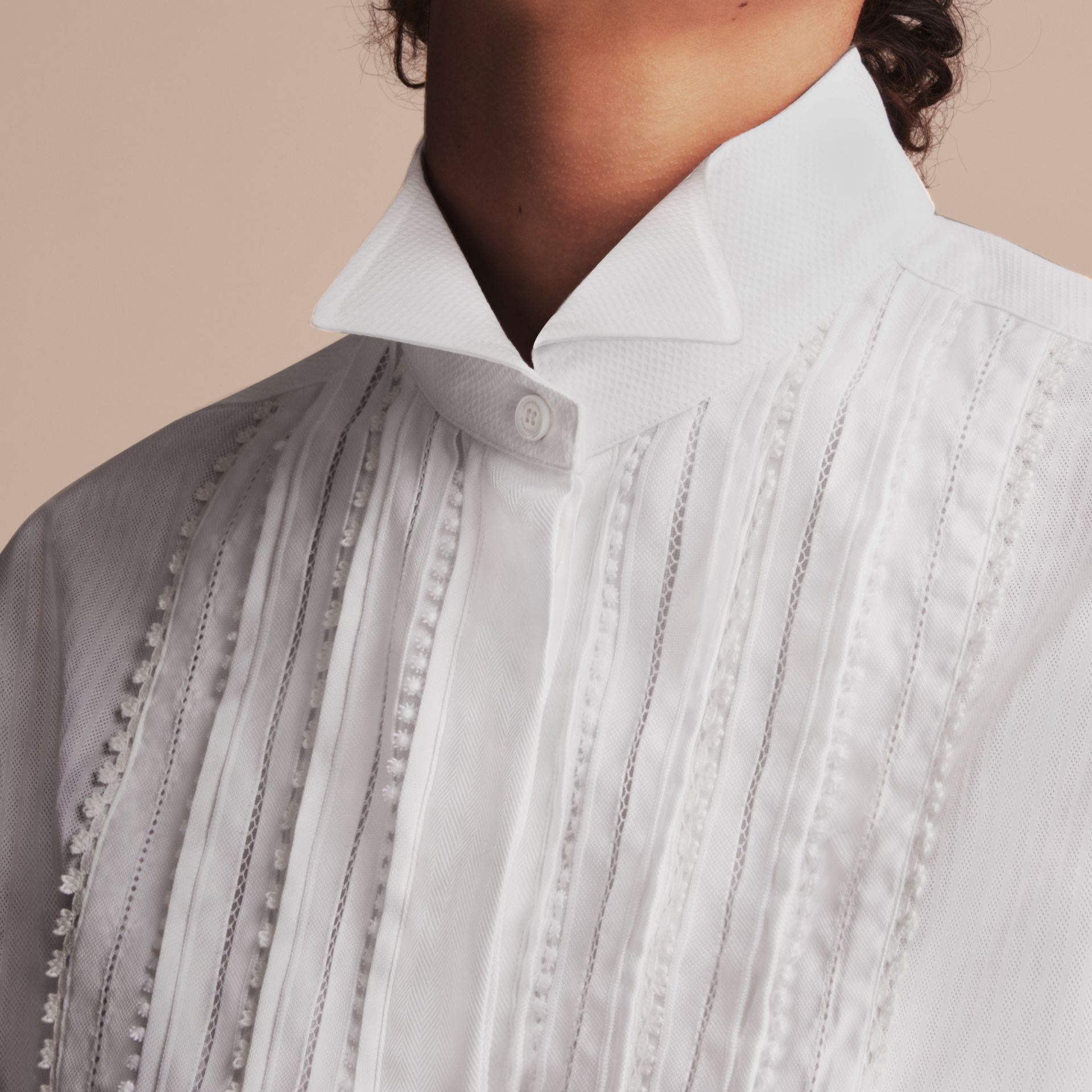 Pintuck and Macramé Trim Cotton Shirt Dress in White - Women | Burberry United Kingdom - gallery image 5