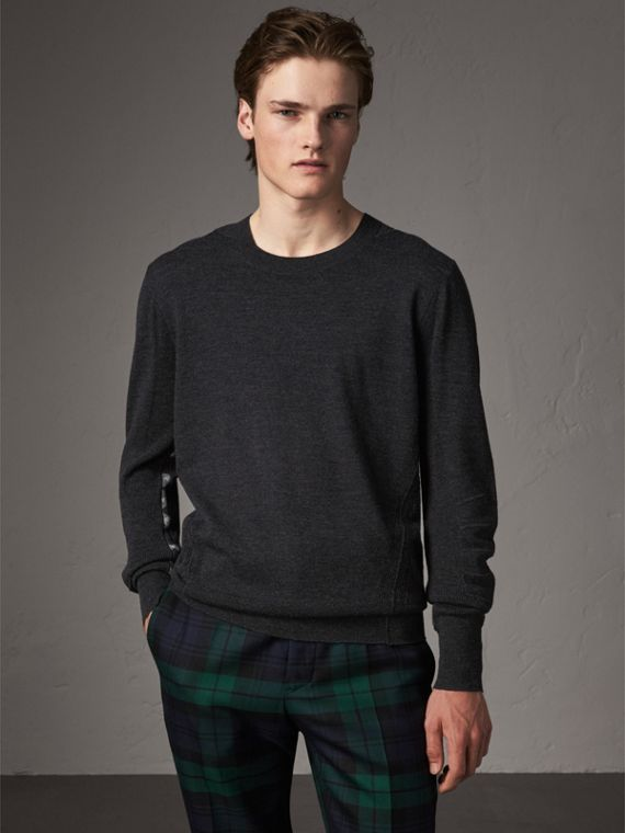 Check Detail Merino Wool Sweater in Charcoal