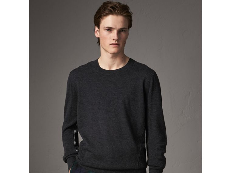 Check Detail Merino Wool Sweater in Charcoal - Men | Burberry - cell image 4
