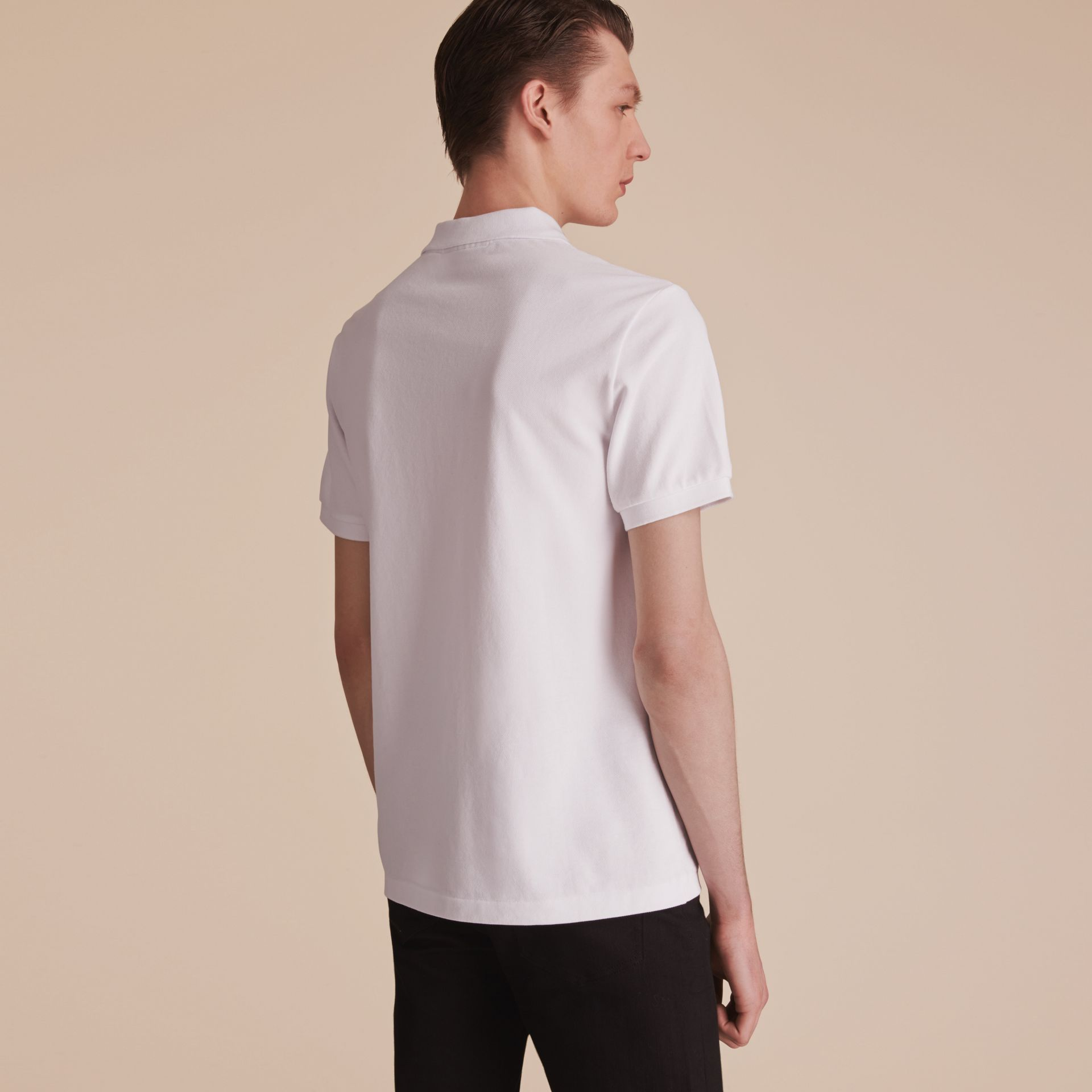 Beasts Motif Cotton Piqué Polo Shirt in White - Men | Burberry - gallery image 3