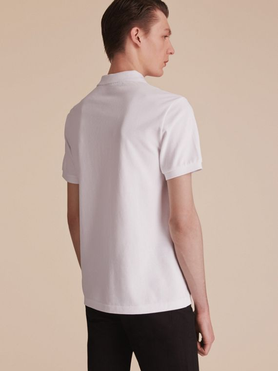 Beasts Motif Cotton Piqué Polo Shirt in White - Men | Burberry - cell image 2