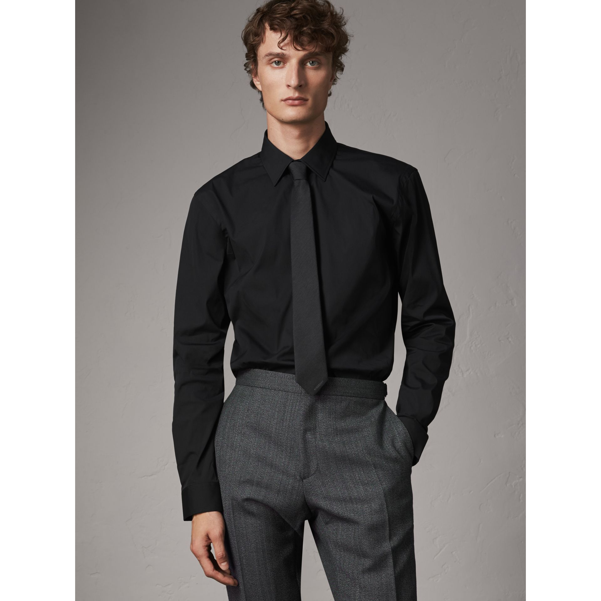 Modern Fit Stretch Cotton Shirt in Black - Men | Burberry Singapore - gallery image 1