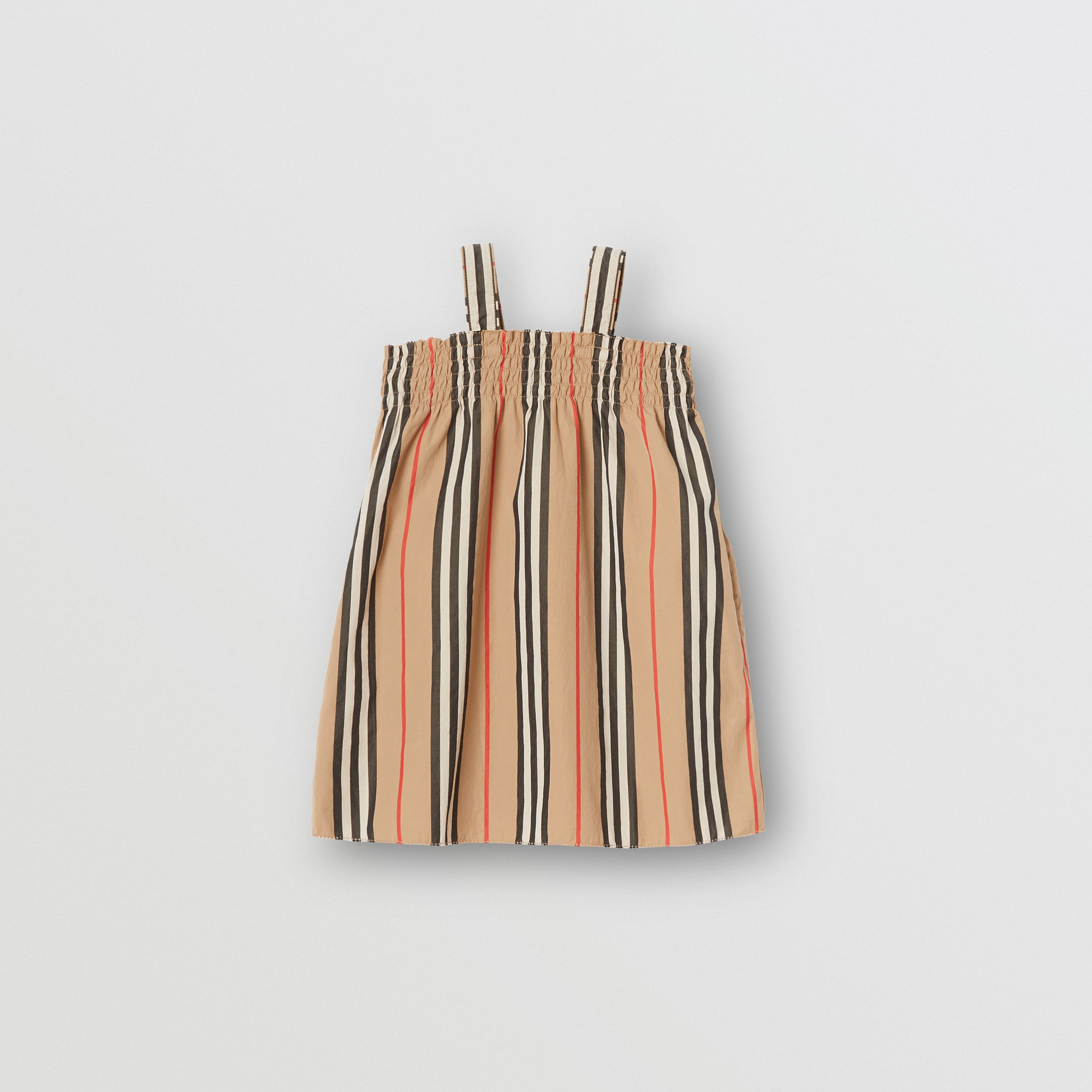 Smocked Icon Stripe Cotton Dress in Archive Beige - Children | Burberry United States - 1