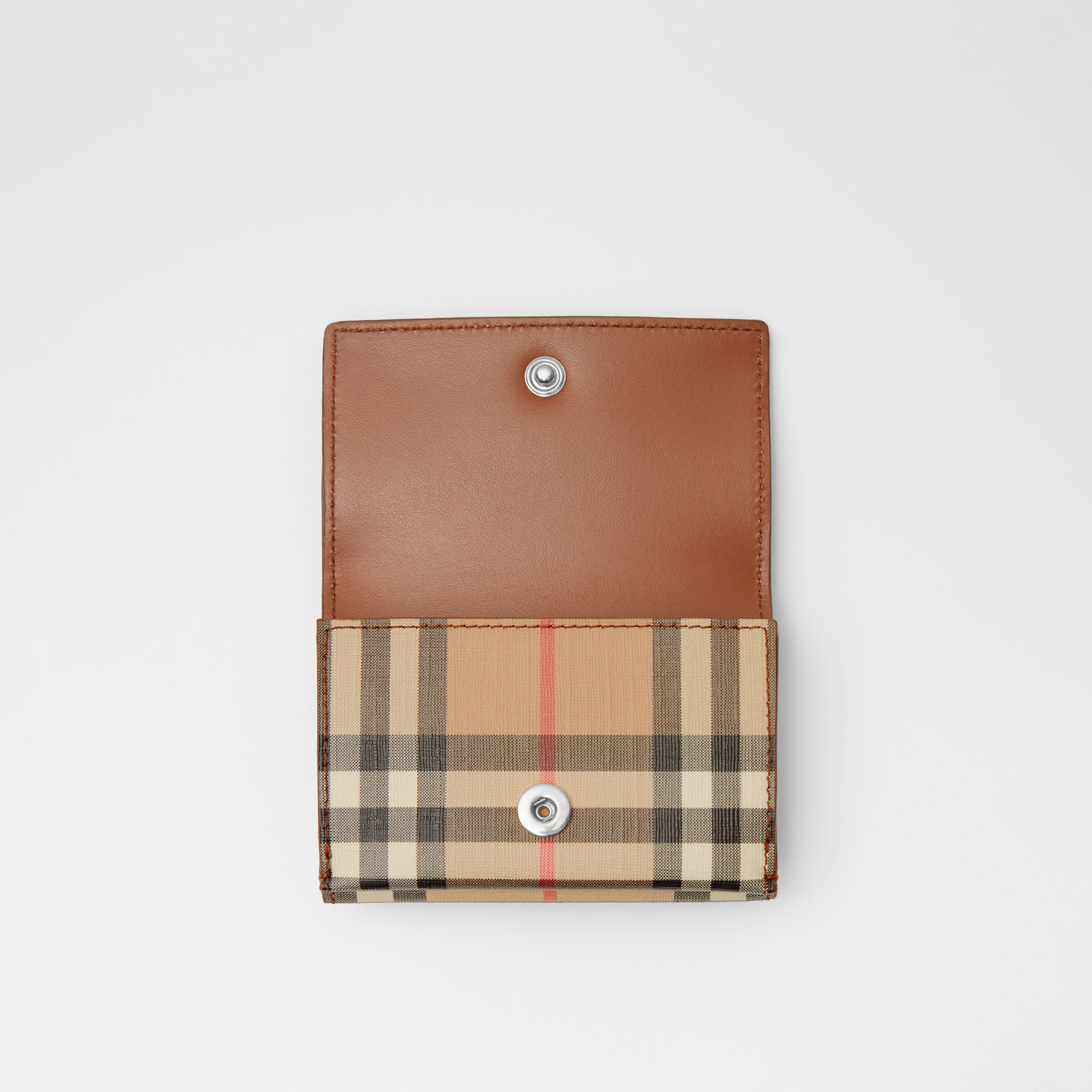 Small Vintage Check E-canvas Folding Wallet in Malt Brown - Women | Burberry Australia - 3