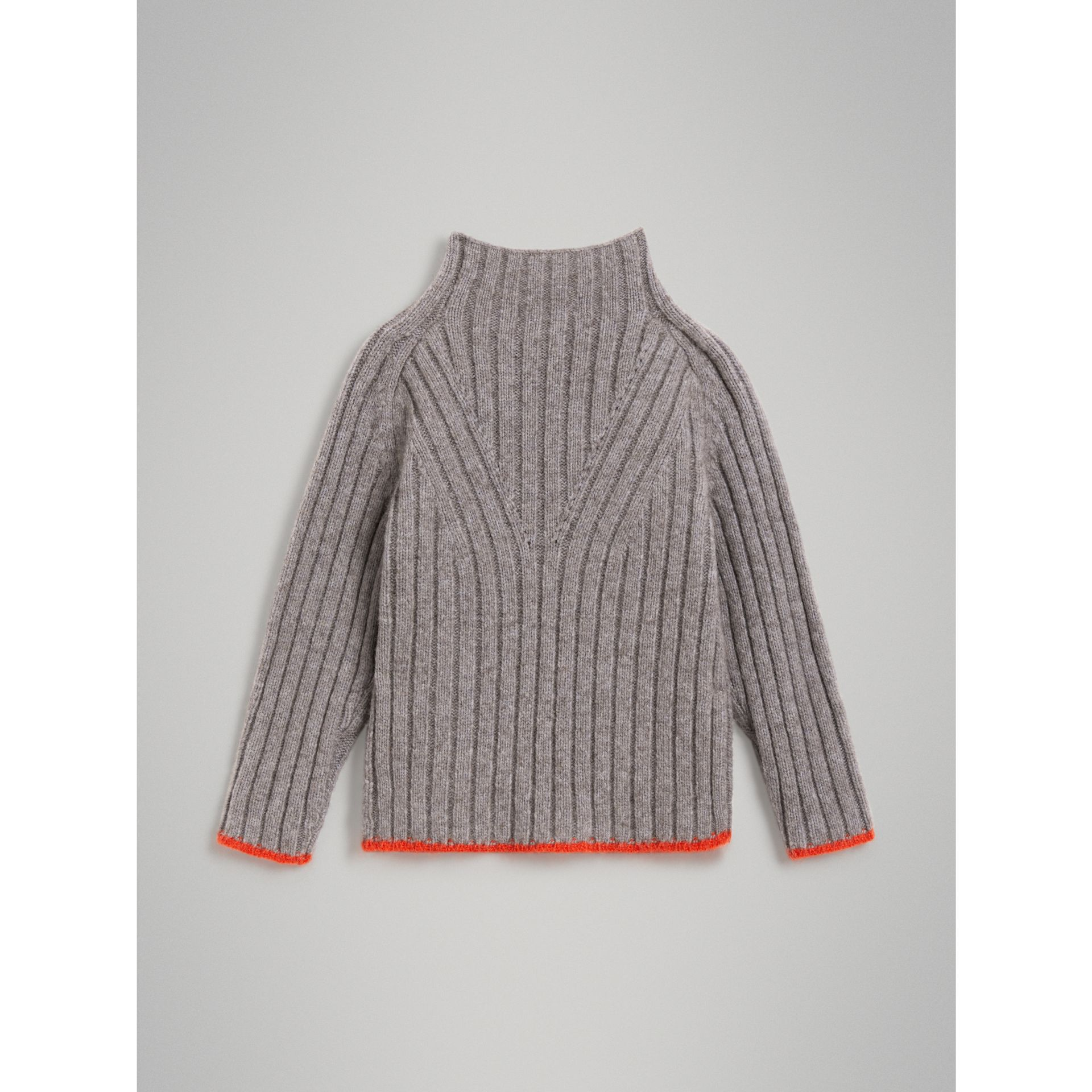 Merino Wool Blend Turtleneck Sweater in Mid Grey - Girl | Burberry - gallery image 3