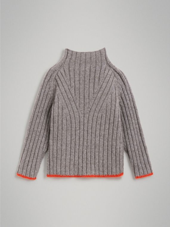 Merino Wool Blend Turtleneck Sweater in Mid Grey - Girl | Burberry United Kingdom - cell image 3