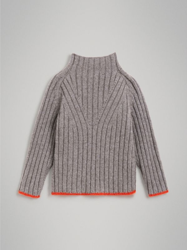 Merino Wool Blend Turtleneck Sweater in Mid Grey | Burberry - cell image 3