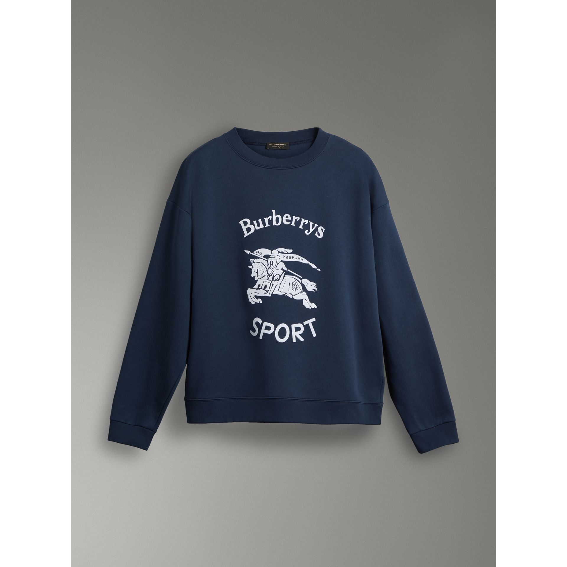 Reissued Jersey Sweatshirt in Navy Blue - Women | Burberry United Kingdom - gallery image 3