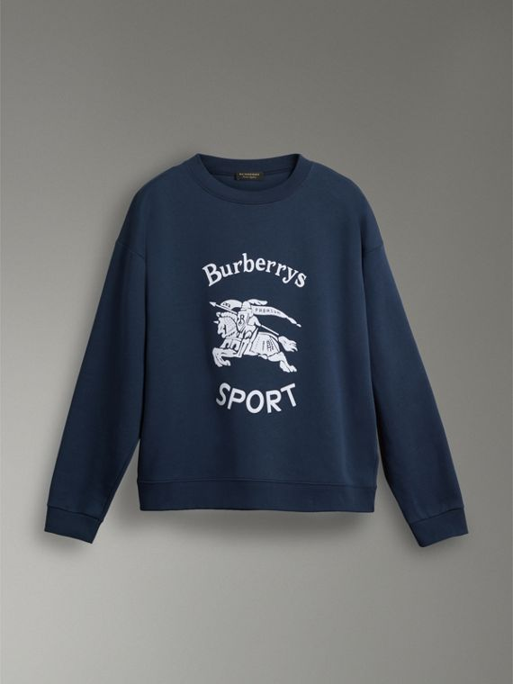 Reissued Jersey Sweatshirt in Navy Blue - Women | Burberry United Kingdom - cell image 3
