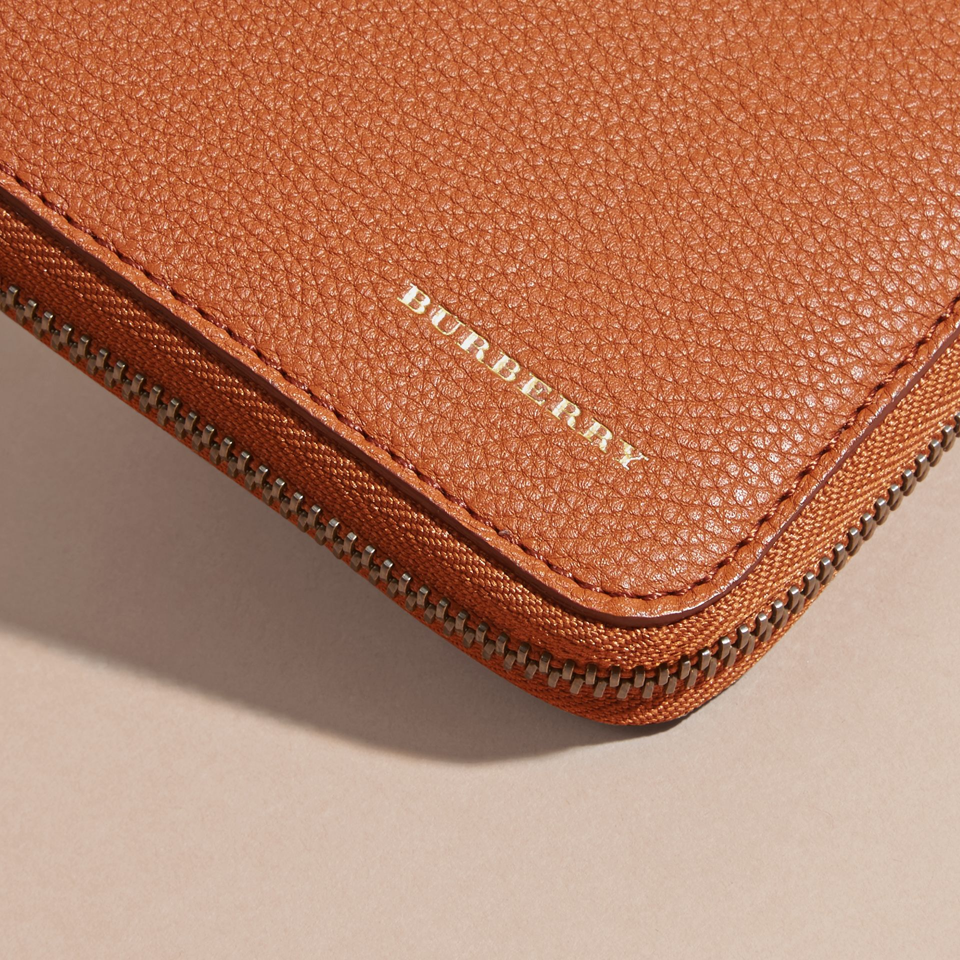 House Check and Grainy Leather Ziparound Wallet Russet - gallery image 5