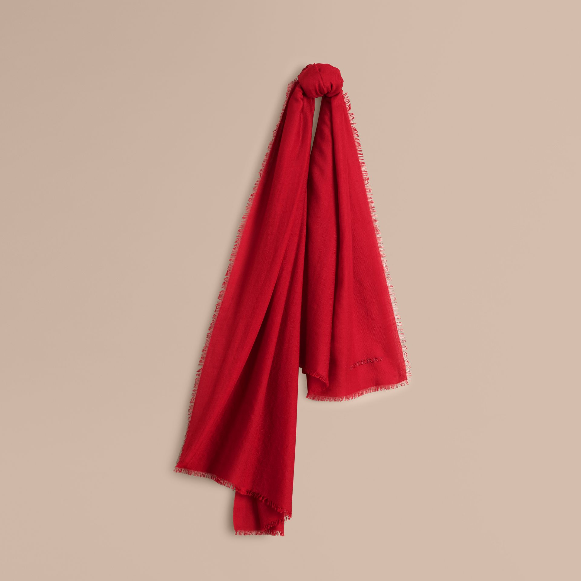 The Lightweight Cashmere Scarf in Parade Red | Burberry - gallery image 6