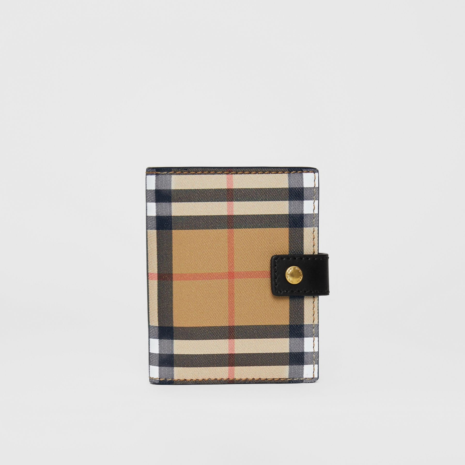 Small Vintage Check and Leather Folding Wallet in Black - Women | Burberry - gallery image 5