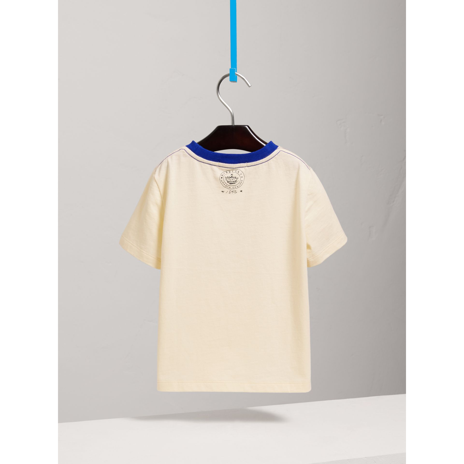 Flocked Emblem Cotton T-shirt in Natural White - Girl | Burberry - gallery image 3