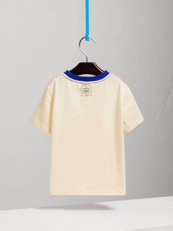 Flocked Emblem Cotton T-shirt in Natural White - Girl | Burberry United Kingdom - cell image 3