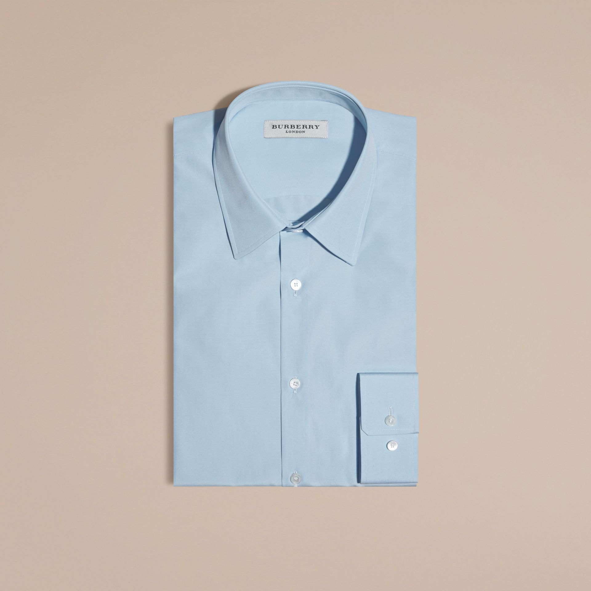 Slim Fit Cotton Poplin Shirt in City Blue - Men | Burberry Singapore - gallery image 4