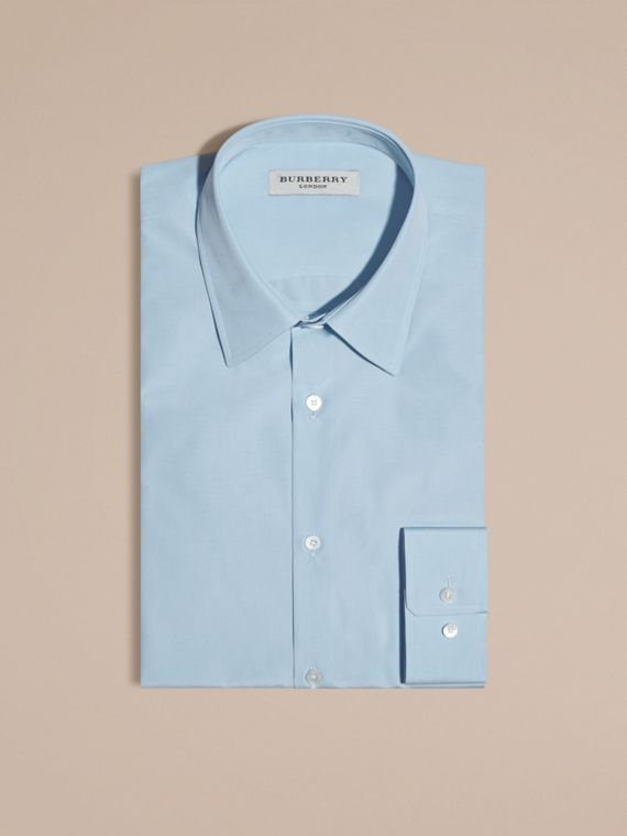 Slim Fit Cotton Poplin Shirt in City Blue - Men | Burberry Australia