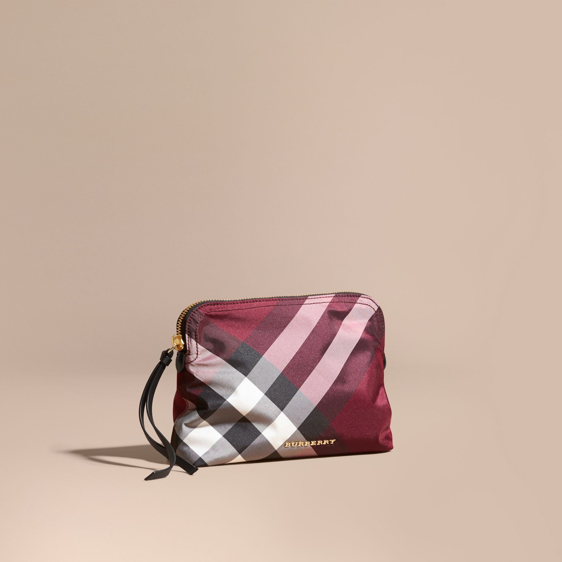 Large Zip-top Check Pouch in Plum - Women | Burberry Australia - gallery image 1