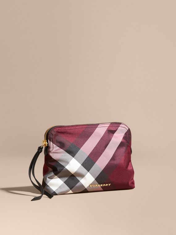 Large Zip-top Check Pouch Plum