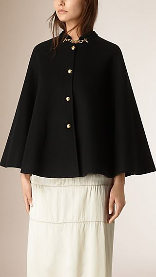 Military Detail Cashmere Cape
