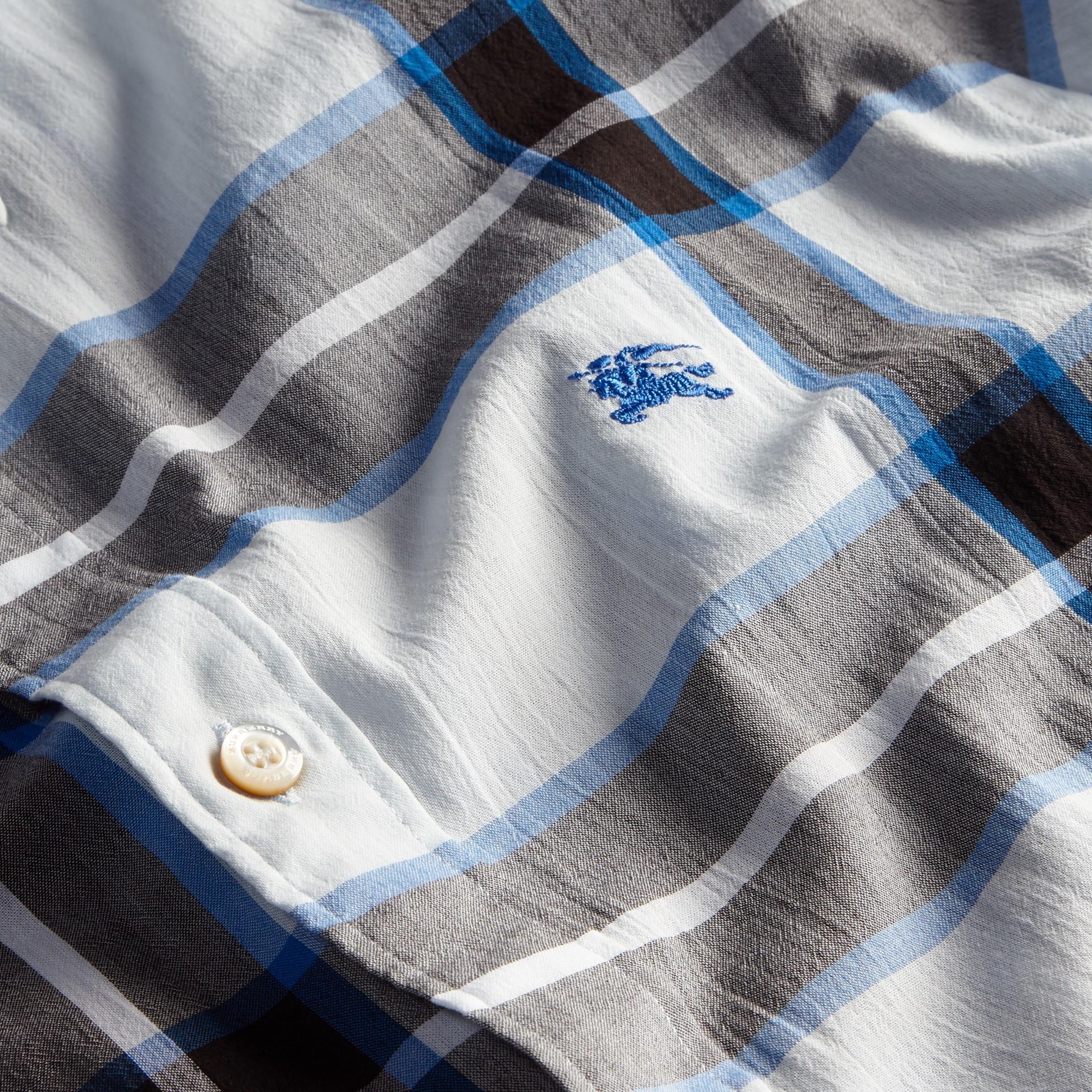 Check Cotton Shirt Light Blue - gallery image 2