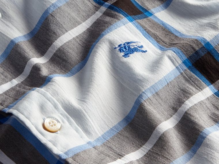 Check Cotton Shirt Light Blue - cell image 1