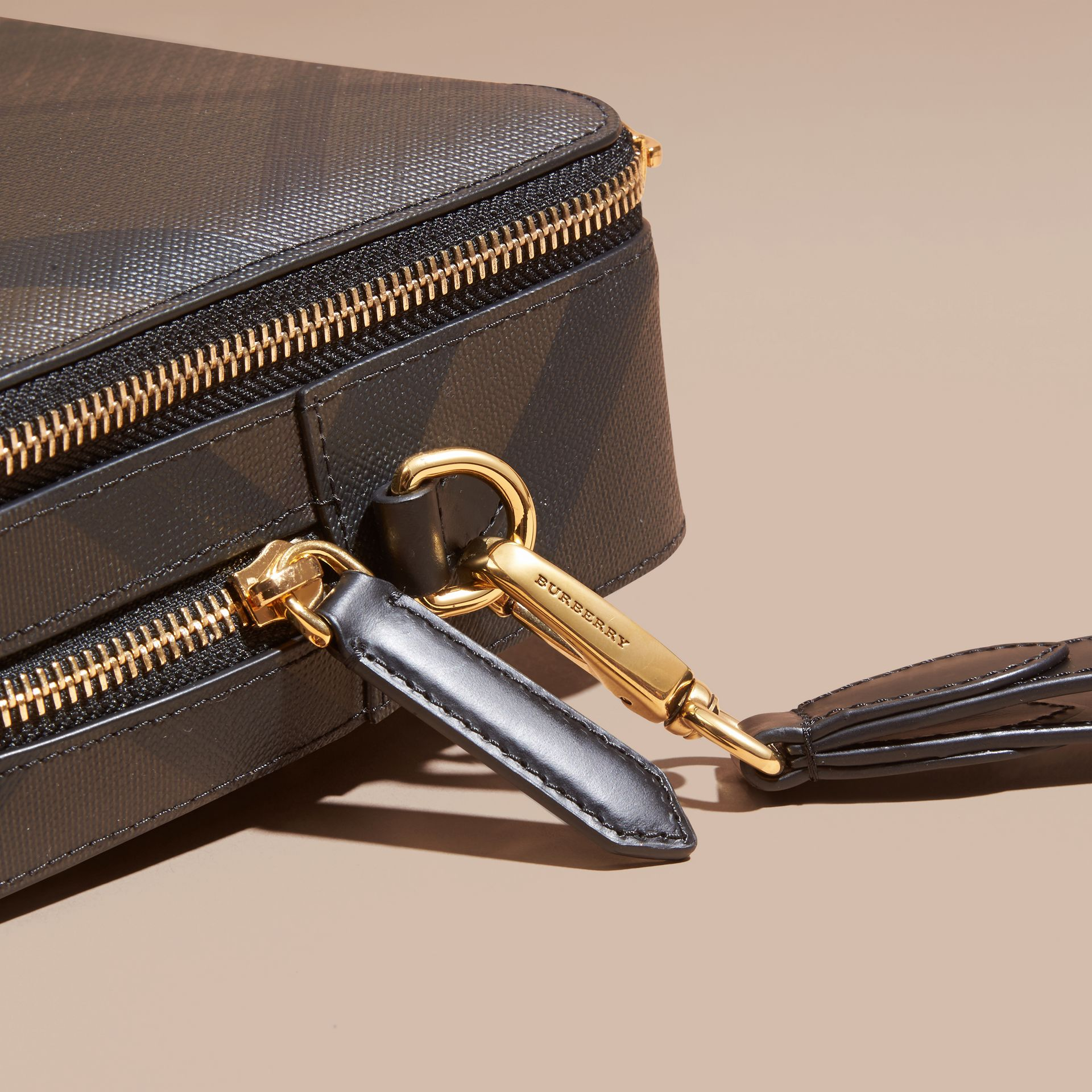 Leather-trimmed London Check Pouch in Chocolate/black - Men | Burberry - gallery image 2