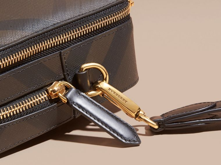 Leather-trimmed London Check Pouch in Chocolate/black - Men | Burberry Canada - cell image 1