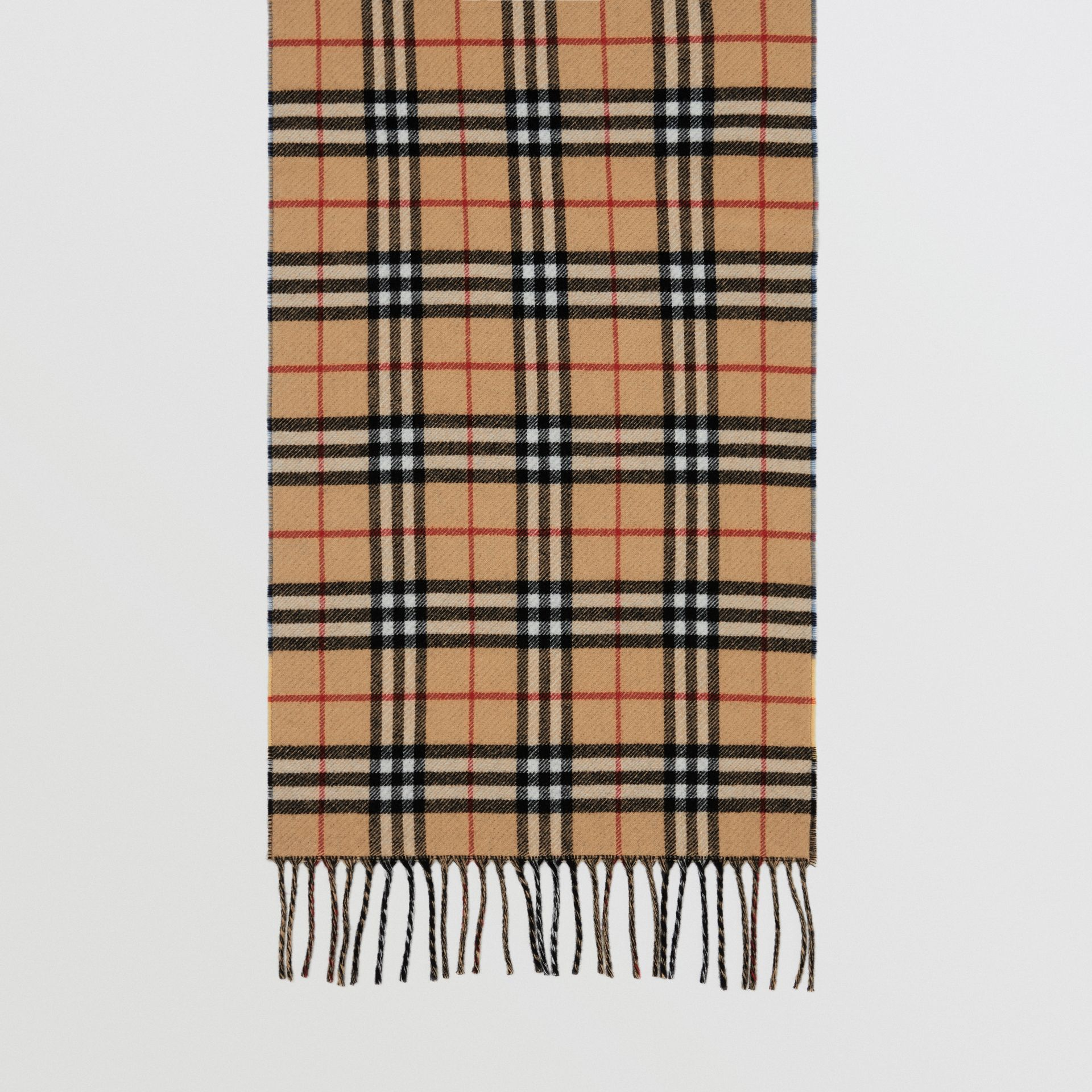 Vintage Check Colour Block Wool Cashmere Scarf in Antique Yellow | Burberry - gallery image 3