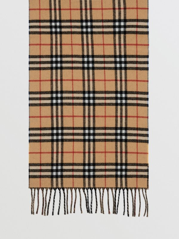Vintage Check Colour Block Wool Cashmere Scarf in Antique Yellow | Burberry - cell image 3