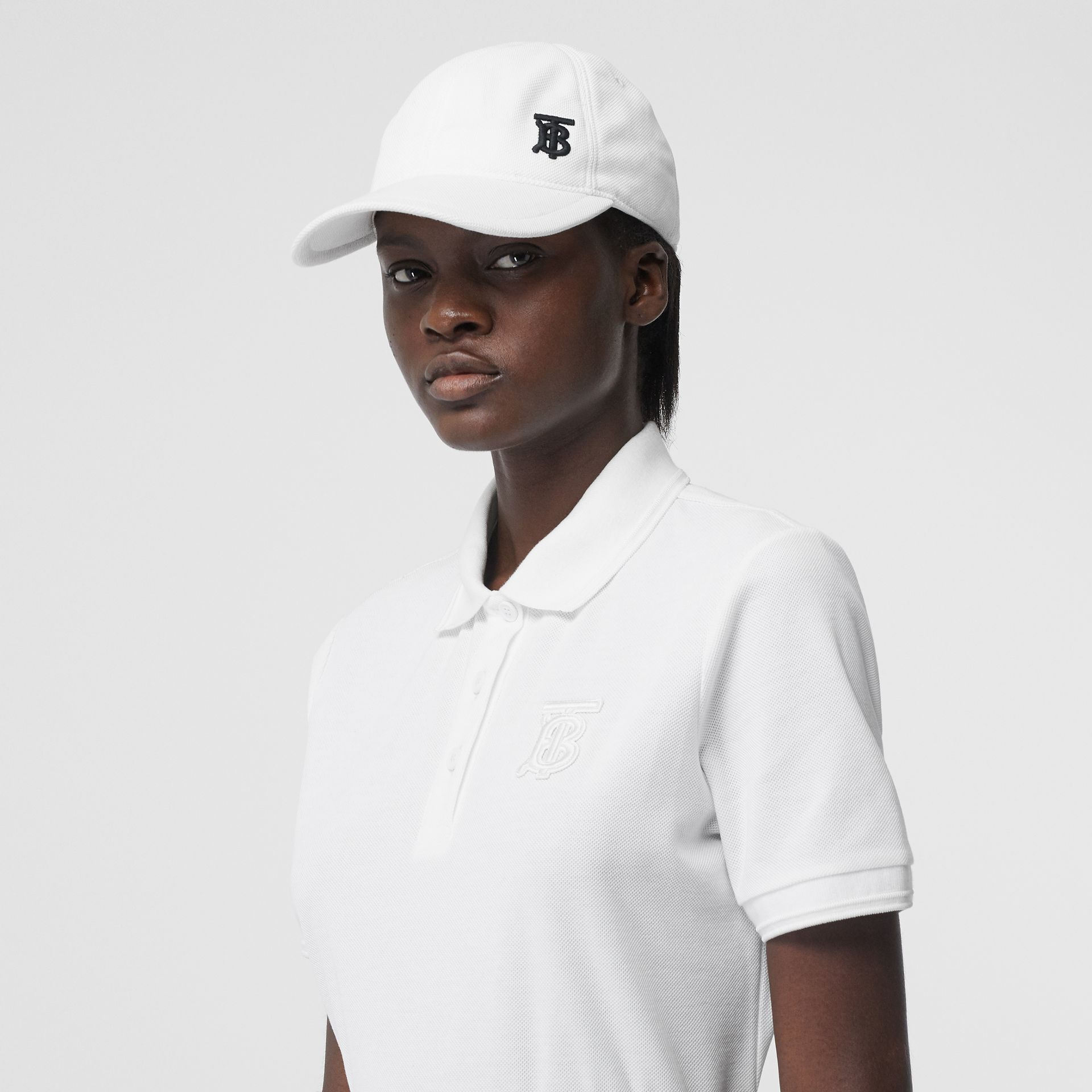 Monogram Motif Cotton Piqué Polo Shirt in White - Women | Burberry - gallery image 6