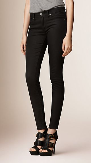 Skinny Fit Low-Rise Deep Black Jeans