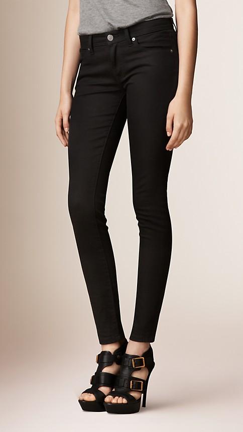 Black Skinny Fit Low-Rise Deep Black Jeans - Image 2