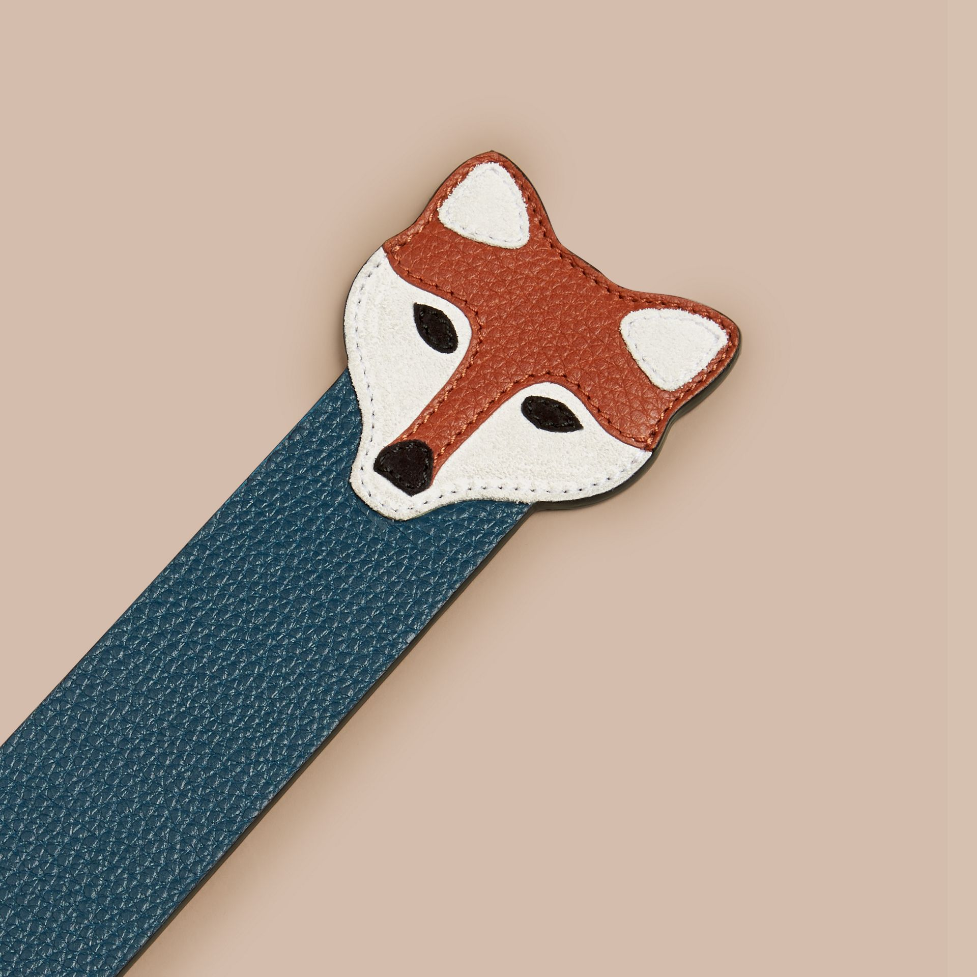 Dusty teal Fox Detail Grainy Leather Bookmark - gallery image 2