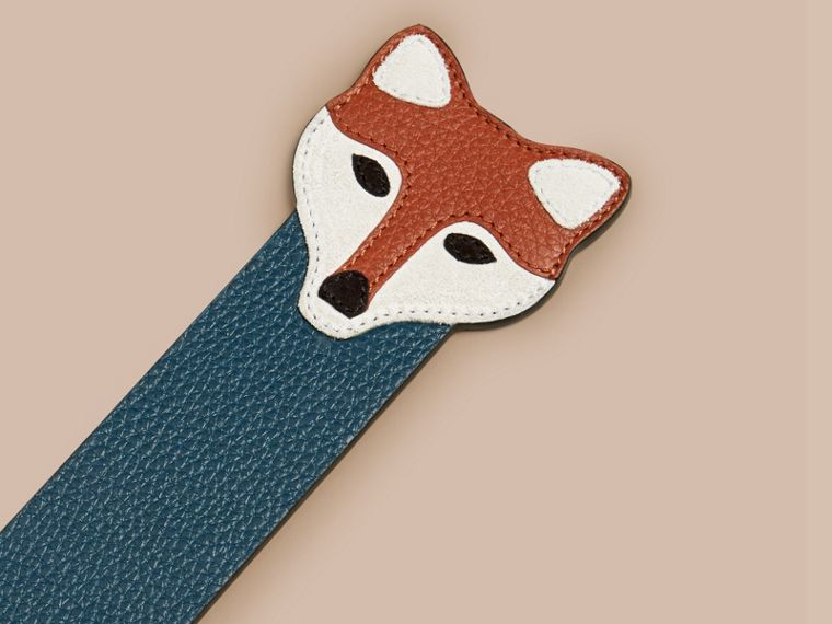 Dusty teal Fox Detail Grainy Leather Bookmark - cell image 1