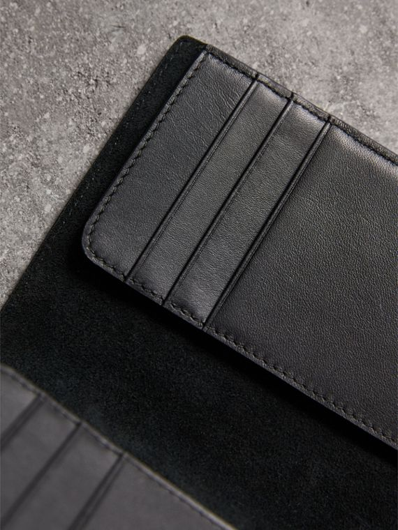 London Check and Leather Passport Holder in Chocolate/black - Men | Burberry Hong Kong - cell image 3