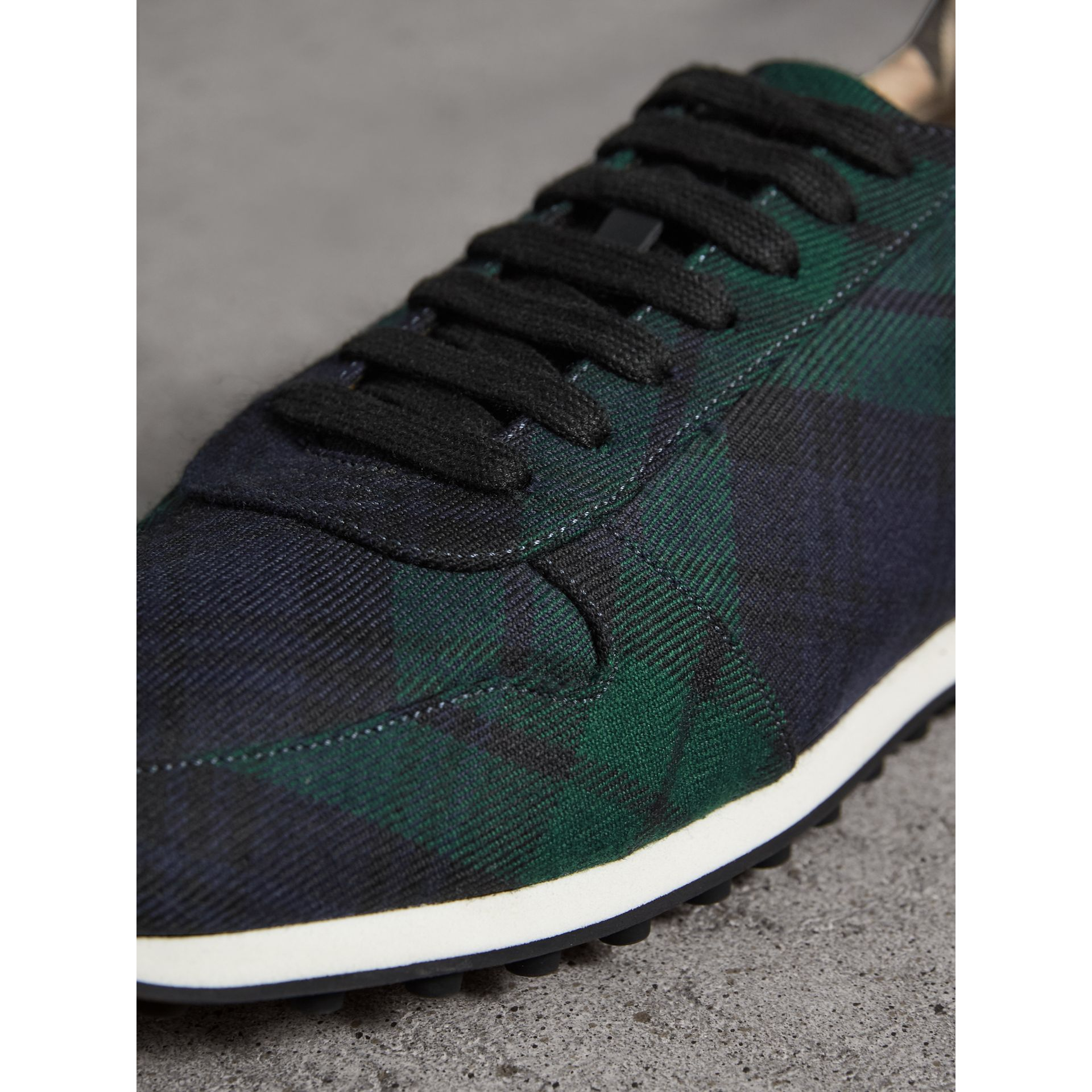 Tartan Wool Trainers in Ink Blue - Men | Burberry - gallery image 1
